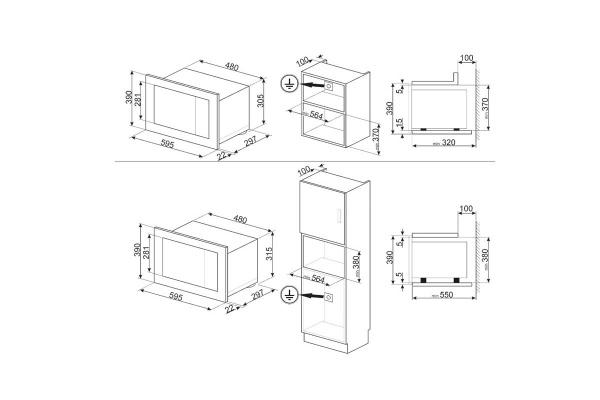 Lò vi sóng kết hợp nướng SMEG, LINEA, mặt kính bạc FMI120S1
