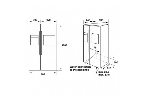 Tủ lạnh side by side Hafele HF-SBSIC