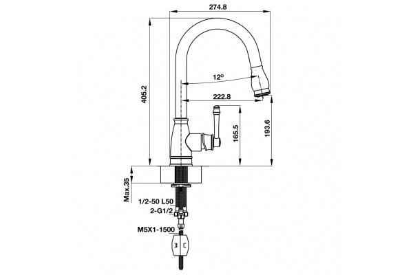 Vòi bếp Hafele Augustus HT-C194