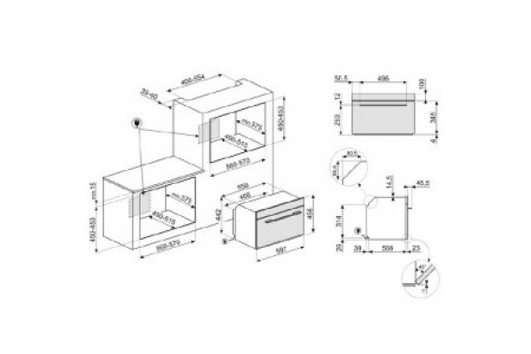 Lò vi sóng kết hợp nướng SMEG SF4104MCS